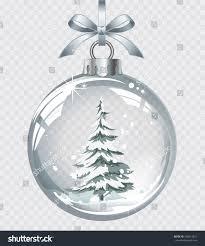 vector realistic transparent silver christmas ball stock vector