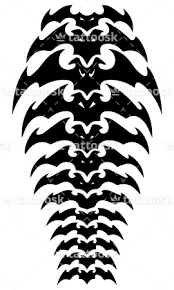 free bats tattoo on spine black spinal bones tattoo design
