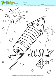 4th of july fireworks coloring sheet turtle diary