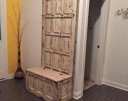 Entry Storage Bench With Coat Rack On Sale Old Wooden Door Hall Tree Repurposed Door Entryway