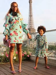 beyonce and daughter blue ivy jump in matching floral dresses in