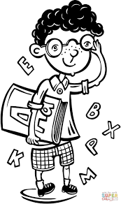 intellectual boy coloring page free printable coloring pages