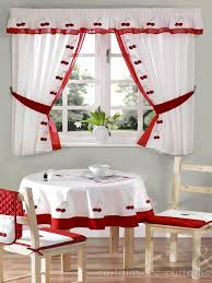 red u0026 white cherry embroidered kitchen curtain curtains uk