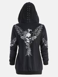 black lace hoodie cheap casual style online free shipping at