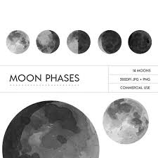 painted watercolor grey moon phases digital clip from