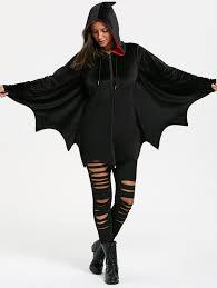 bat wing wave cut halloween zip up hoodie in black 2xl