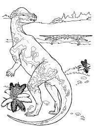 dessin de deux dinosaures qui se combattent à colorier