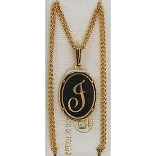 damascene gold letter j oval pendant