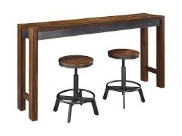 rustic pub table and chairs signature design by ashley torjin 3 piece rustic long counter table