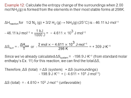 Standard Entropy Change Table Thermochemistry The Second And Third Laws Ppt