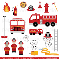 clip art set fire station truck and rescue pup junior