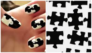 easy nail art without tools for short nails jigsaw puzzle nails