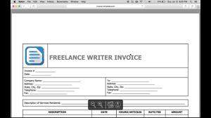 write a freelance writer invoice excel word pdf youtube