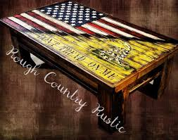 Country American Flag Deluxe Home Defense Coffee Table Charred American Flag With Torn