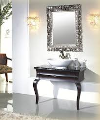 bathroom awesome remarkable silver carving wooden frame wall mirror over white acrylic washbawl shiny black vanity using queen anne legs style bathroom small design vintage tile equipped