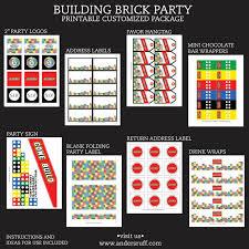 building brick birthday party printable collection