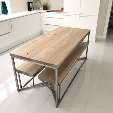 solid oak stainless steel dining table by cosywood