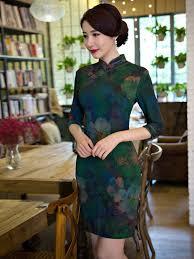 three quarter sleeve green blue floral vintage chinese dress