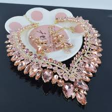 pink rhinestone necklace images Gorgeous light peach color rhinestone necklace earrings bridal jpg