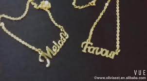 Gold Name Plated Necklace Jewelry Women 2017 Arabic Dubai Personalized Custom Gold Name