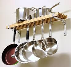 modern kitchen storage ideas decor using wall mount pot rack for cool kitchen storage ideas