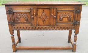 sold quality oak small long sideboard cupboard