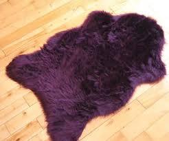 Imitation Sheepskin Rugs Aubergine Plum Purple Faux Fur Sheepskin Style Rug 70cm X 100cm