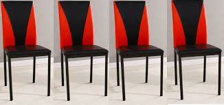 Red Leather Dining Chair 4x Faux Leather Dining Chairs Available In Black Red U0026 Black