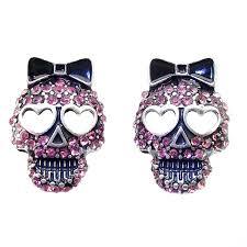 skull stud earrings daisyjewel pink sugar skull stud
