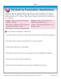 the dash as punctuation substitutions punctuation worksheets