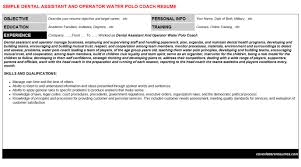 dental assistant and operator water polo coach cover letter u0026 resume
