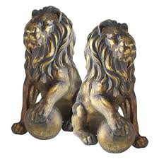 lions statues bronze lion statues with paw on pier 1 imports