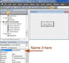 search for work sheet names in excel using visual basic macro