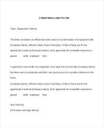 2 week notice letters formal 2 week notice