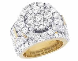 real wedding rings images 10k yellow gold real diamond cluster halo engagement wedding ring jpg