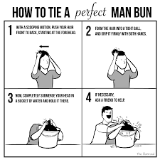 Tie Meme - how to tie a perfect man bun the oatmeal