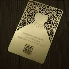invitation printing services golden laser cut metal wedding invitation card sided