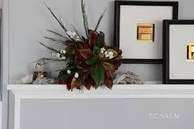magnolia leaf arrangement for my fall mantel decor besa gm