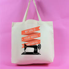 Neutral Colour My Soul Is Fed By Needle And Thread Tote Bag Neutral Colour