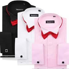 aliexpress com buy men u0027s dress shirts french cuff pink white