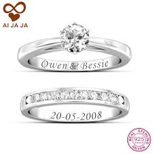 wedding ring with name engraved aijaja 925 sterling silver customized engraved wedding rings sets