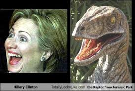 hillary clinton totally looks like the raptor from jurassic park