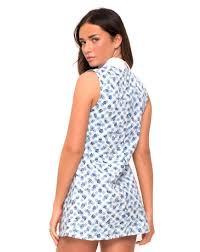collared light blue ditsy gingham print shift dress megara