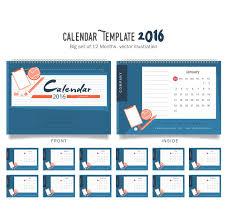desain kalender meja keren desain keren kalender meja 2016 dengan warna biru free vector wd