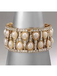 rhinestone cuff bracelet images Deco inspired pearl rhinestone stretch cuff bracelet blue velvet jpg