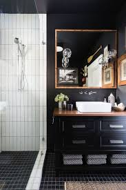 Bathroom With Black Walls Moody Bathroom With Black Walls A White Shower A Bronze Square