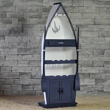 Nautical Bookcase Handmade Boat Rowing Shaped Bookcase Wine Cabinet For Decoration