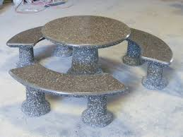 round cement picnic tables designer round table set dominion precast