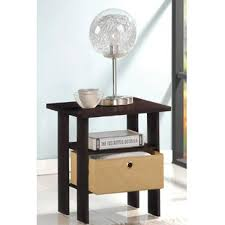 Night Tables Furinno 11157dbr Bk End Table Bedroom Night Stand W Bin Drawer