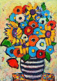 Striped Vase Abstract Flowers Sunflowers And Colorful Poppies In Striped Vase